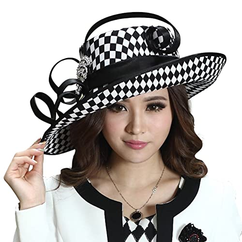 June s Young Ladies Satin Dress Hat Church Hat Formal Hat for Women Black  Hat f7c8985737c7