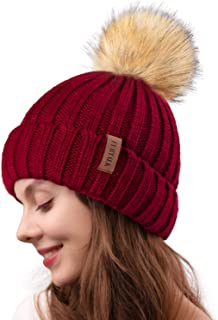 Womens Winter Knitted Beanie Hat with Faux Fur Pom Warm Knit Skull Cap Beanie for Women