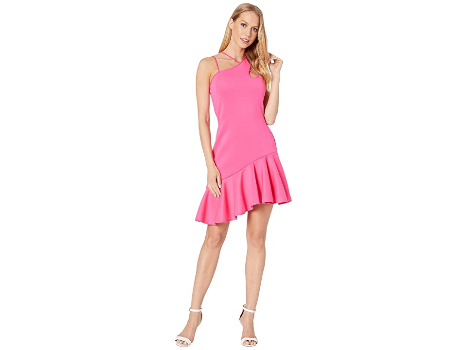 Bebe Asymmetrical Scuba Ruffle Dress (Pink Glow) Women