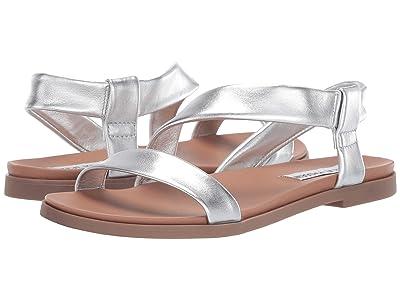 Steve Madden Dessie Flat Sandals (Silver Leather) Women