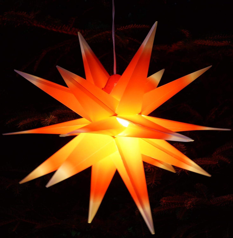 Melchior outdoor II weiß, sehr stabiler Außenstern Ø 60 cm, mit 20 Spitzen, inkl. 4 m Außenkabel Weihnachtsstern, Adventsstern Faltstern Rot/Weiß