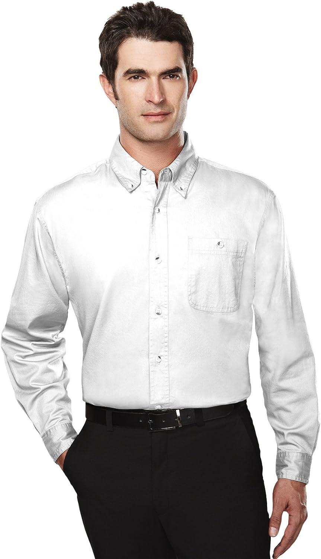 Tri-Mountain Big and Tall 6 oz. Cotton Long Sleeve Twill Shirt White