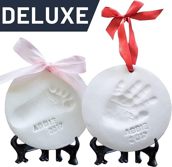 婴儿装饰品纪念品工具包新生儿捆绑 2 个画架 4 个丝带字母婴儿手印工具包和足迹工具包婴儿淋浴礼物男孩女孩粘土铸造工具包
