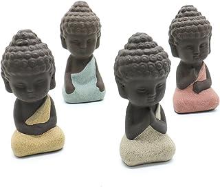 SenseYo 4 Pieces Traditional Cute Small Buddha Statue India Yoga Mandala Sculptures Monk..