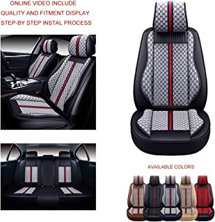 Oasis Auto OS-007 Leather&Cloth Universal Car Seat Covers Automotive Vehicle Cushion That Fits All Sedan Most SUV and Small Pick-Up Truck (Grey, Full Set)