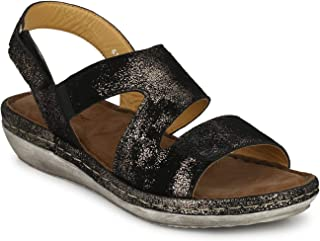 Delize Black/Snak Premimum Model Women's Leather Fashion Sandals