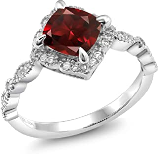 925 Platinum Plated Sterling Silver Red Garnet Women's Engagement Ring (2.19 Cttw Cushion Cut Gemstone Birthstone Available in size 5, 6, 7, 8, 9)