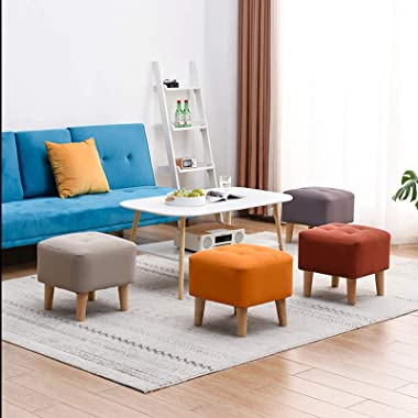 LIXIONG Ottoman, Square Footstool with Faux Leather Fabric and Solid Wood Legs Coffee Table Stool for Living Room Kitchen, 5
