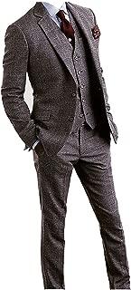 Men's Houndstooth Tweed Wool Blend Grey Grid Plaid Check Tuxedos Groom Slim Fit Formal Vintage 3 Pieces Suit