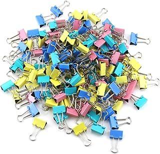 مشابك ورقية من إتش إس لايف مكونة من 160 قطعة من مشابك التثبيت الورقية بألوان متنوعة، مشابك تغليف ورقية معدنية قابلة للطي ل...