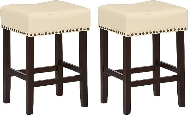 Ravenna Home Lisetta Nailhead Saddle Counter Stool 24 H Espresso With Cream Faux Leather 2 Pack
