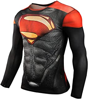 Super Man Compression T Shirts Long Sleeve Cosplay Tops Tee for Man 3D Printed T Shirts