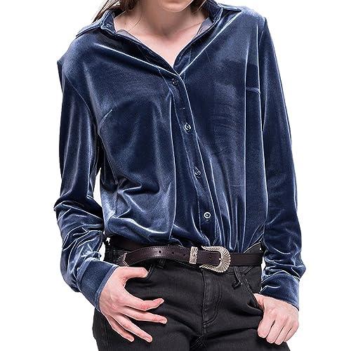 c8115578ec948a HaoDuoYi Womens Boyfriend Velvet Button Down Top Shirt