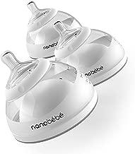 nanobebe Breastmilk Baby Bottles for Breastfed Babies, BreastfeedingNewbornBreast Like, Anti Colic, Easy Latch, Preserves BreastMilk nutrients 3pk (Award Winning Innovation), Gray
