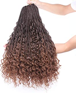 Leeven 24 Inch Bohemian Goddess Box Braids with Curls At The Ends 6 Packs Ombre Color Messy Long Goddess Braids Hair For Black Women Knotless Box Braiding Crochet Hair T30
