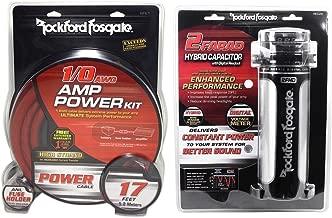 Rockford Fosgate RFK1 1/0 Gauge OFC Amp Kit+RFC2D 2 Farad Capacitor w/ Meter