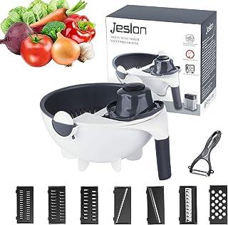 Jeslon Légumes Mandoline Slicer - 12 en 1 Spiralizer Légumes Cutter and Shredder - Râpe Julienne Multi-Usage Cuisine avec ...