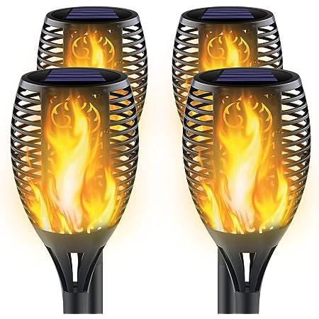 Awethone Luces solares mejoradas para exteriores, luces solares con llamas parpadeantes, decoración de paisaje, luces de llama solares para jardín, patio, encendido/apagado automático al amanecer, paquete de 4