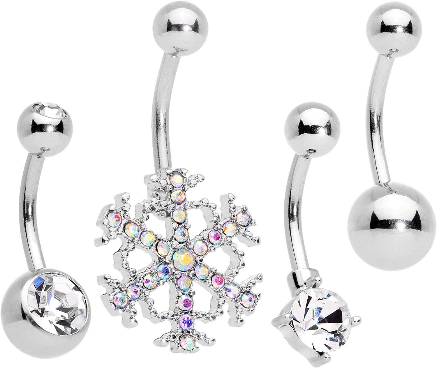 Body Candy 316L Steel Navel Ring Piercing Clear Accent Holiday Season Winter Snowflake Belly Button Ring 14G