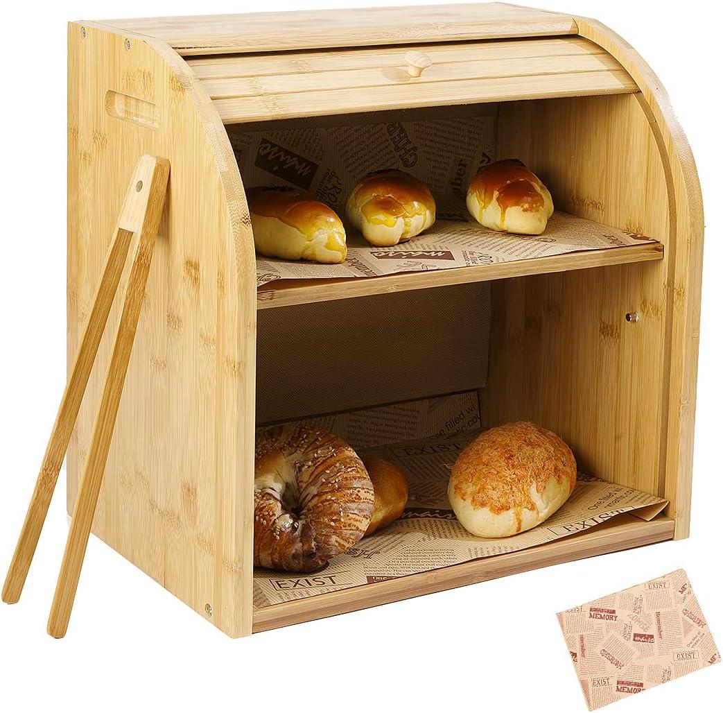 LUXFINA Bamboo Bread Boxes for kitchen countertop,Kitchen Bread Storage Box,Break Holder, Large Capacity with 2 layer Adjustable Shelf,Bread Bin,Bread Organizer