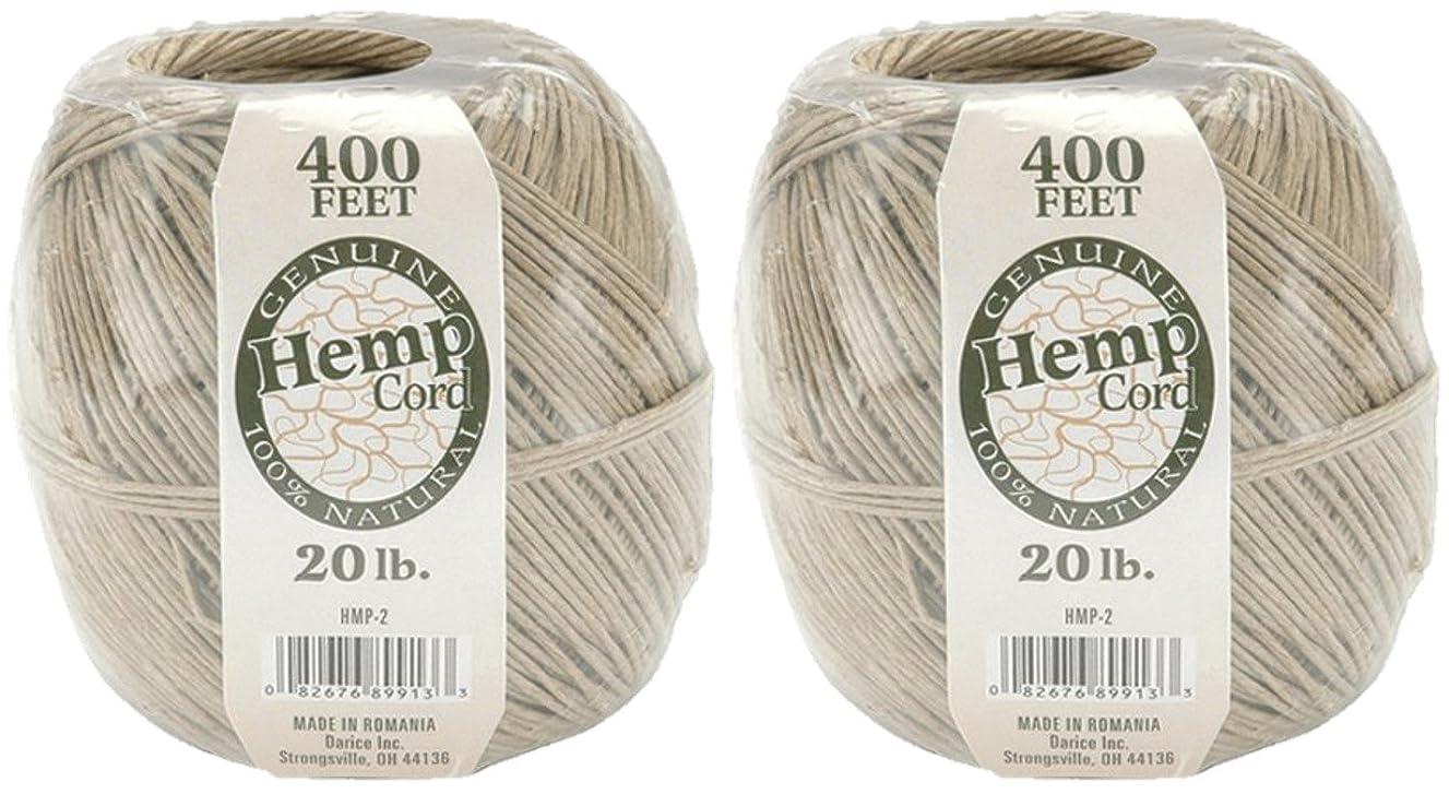 One Package of 400 feet 100% Natural Hemp Cord #20 (Set Of 2, Brown)