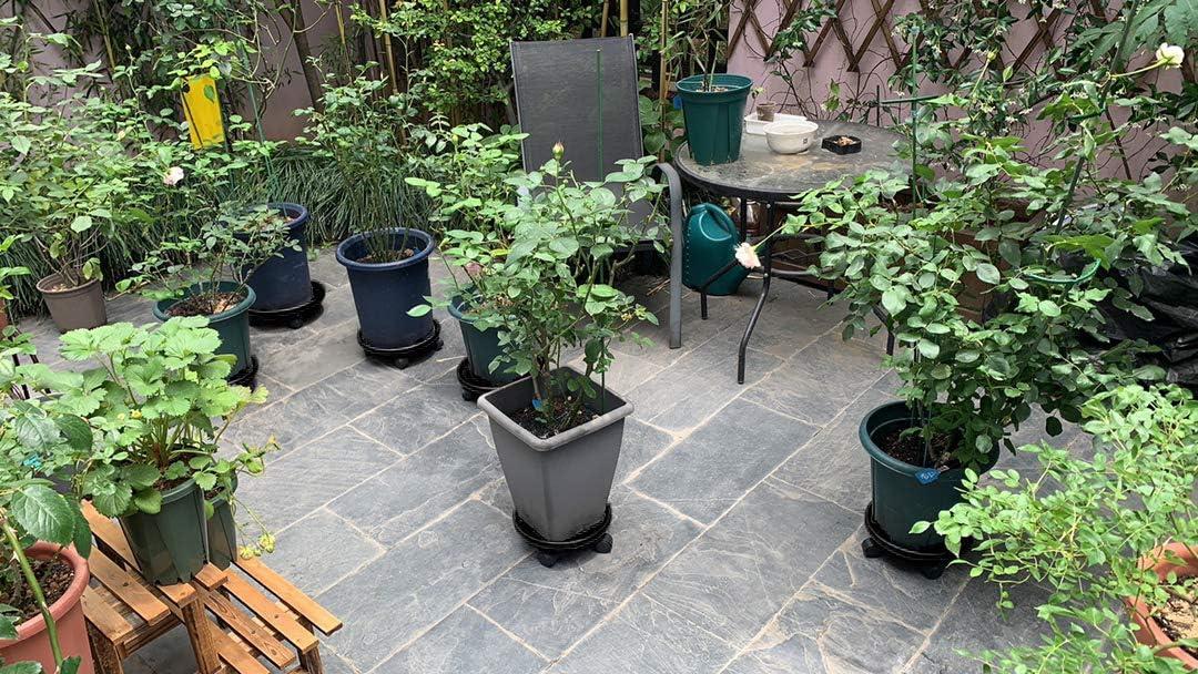 Noir Amkoskr 2Pcs 30cm Support de Pot de Fleurs Rond /à roulettes Plateau de Transport de Plantes Lourdes avec roulettes Universelles .
