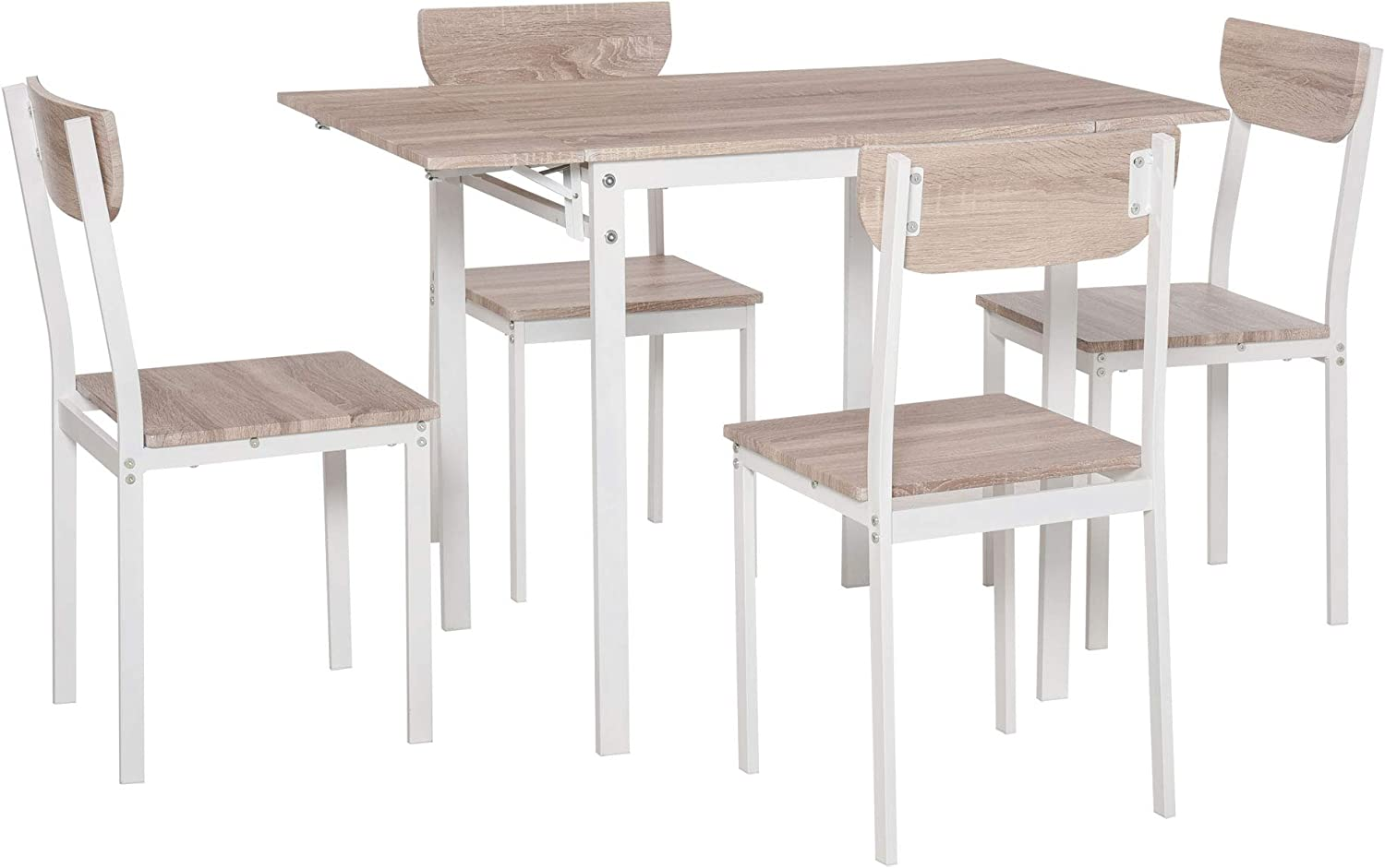 Buy HOMCOM Modern 9 Piece Dining Table Set for 9 with Foldable ...