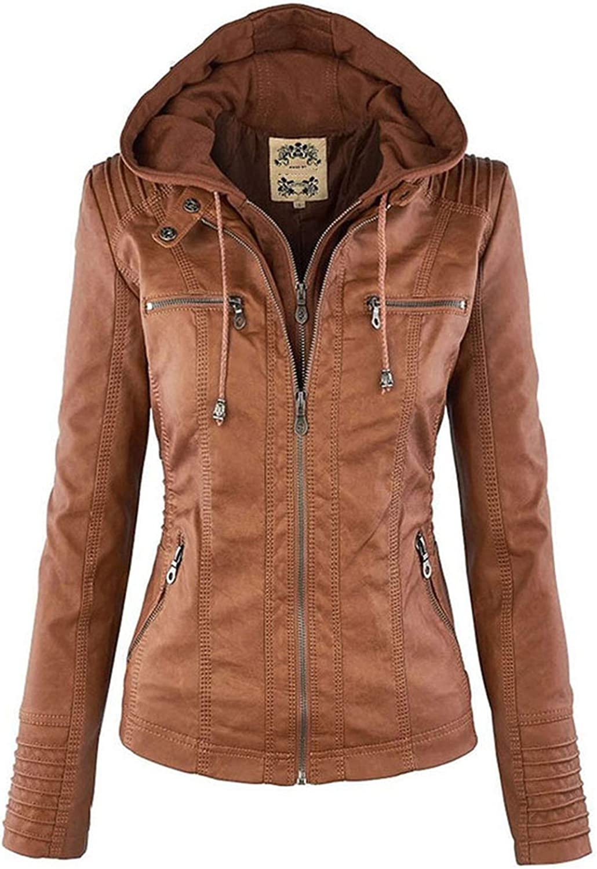 White Island Womens Hooded Motor Slim Overplus Size 5XL Fashion Zipper Coats