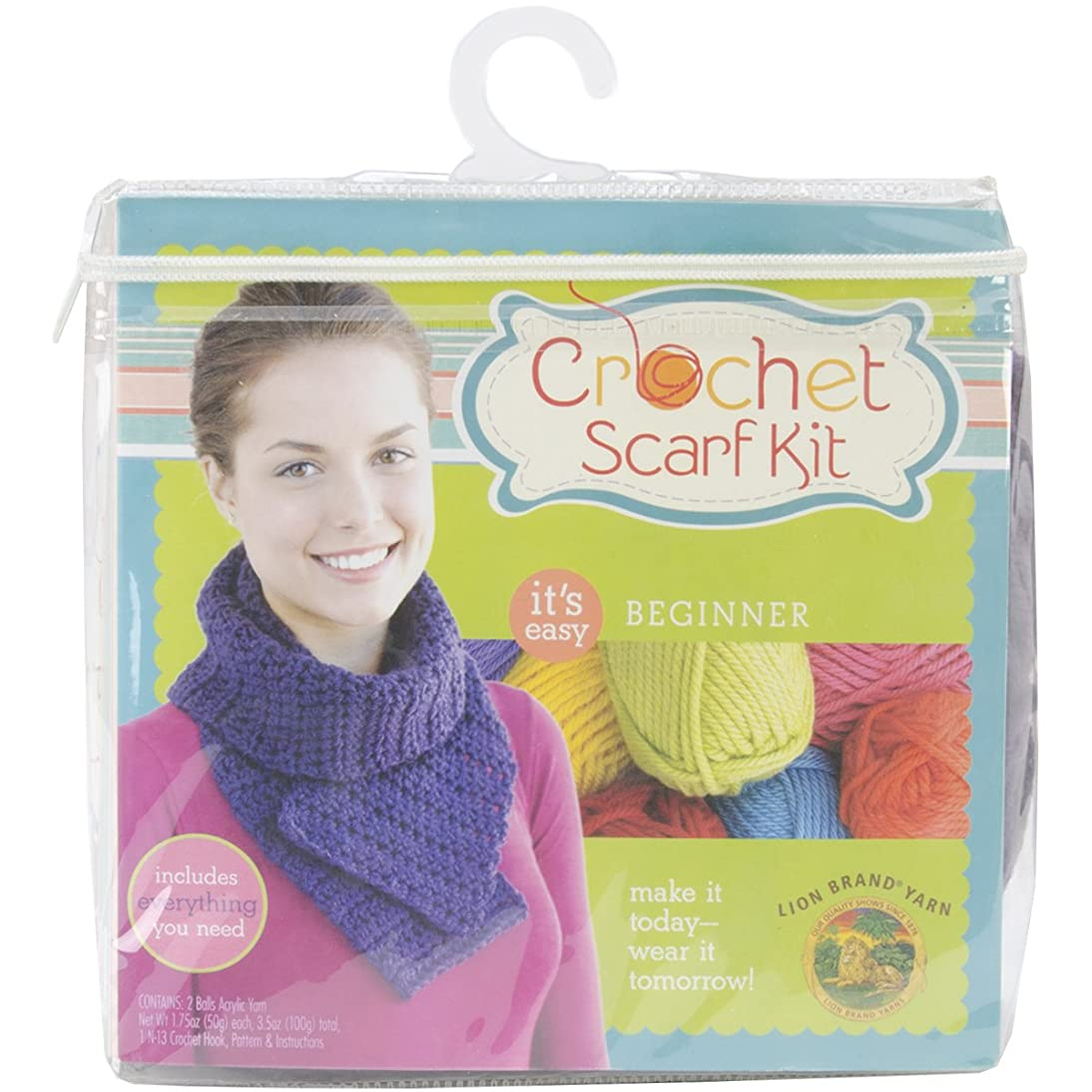Lion Brand Yarn 600-886 Beginner Crochet Scarf Kit, Purple