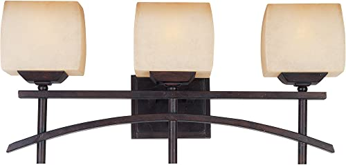 Maxim 10993WSRC Asiana 3-Light Bath Vanity, Roasted Chestnut Finish, Wilshire Glass, MB Incandescent Incandescent Bulb , 60W Max., Dry Safety Rating, Standard Dimmable, Metal Shade Material, Rated Lumens