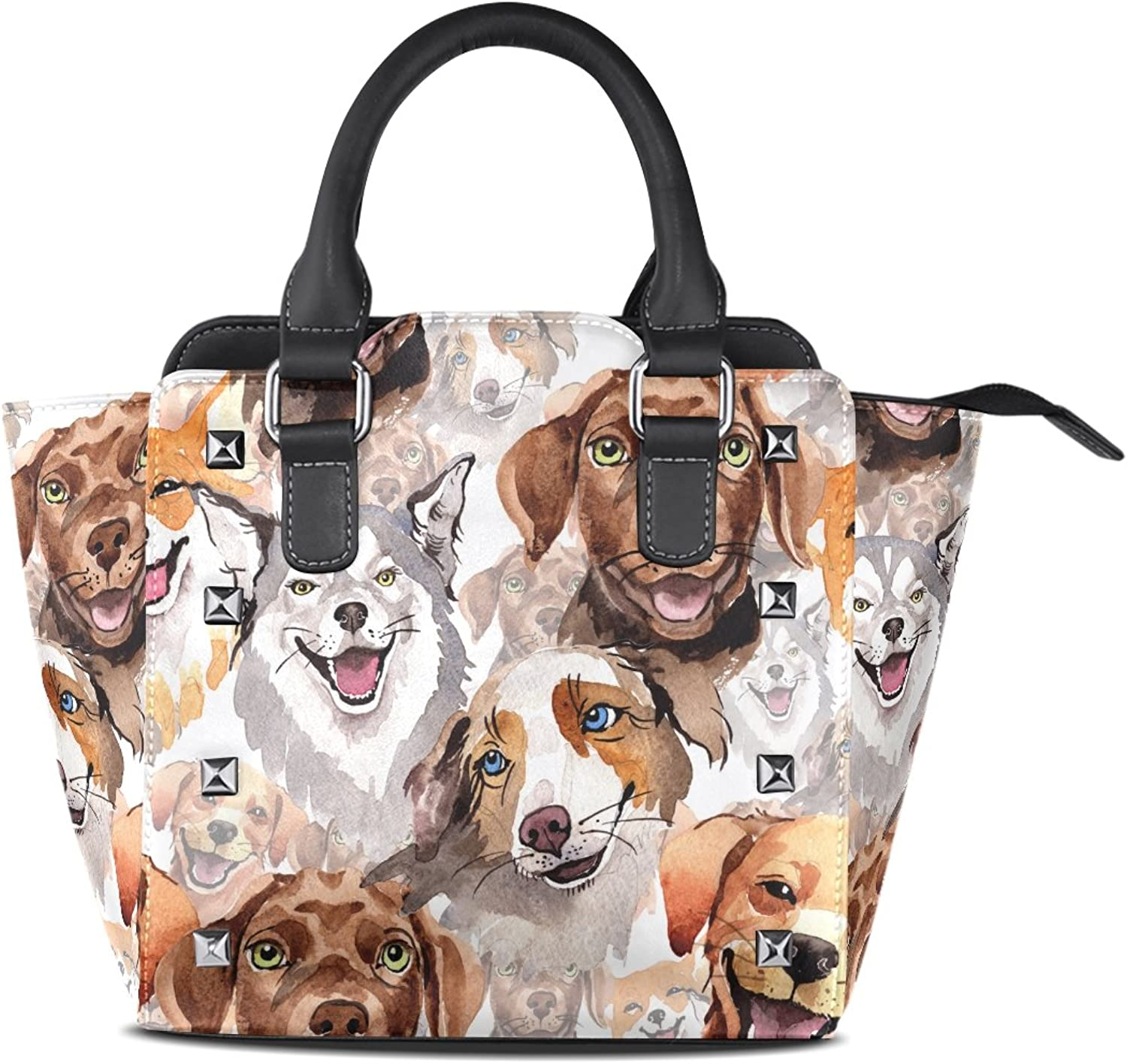 My Little Nest Women's Top Handle Satchel Handbag Watercolor Dogs Ladies PU Leather Shoulder Bag Crossbody Bag