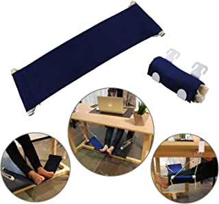 Foot Hammock Under Desk Foot Rest protable Legs up Hammock Swing for Your Office nap,Home footrest with Hanging Rope(Navy)