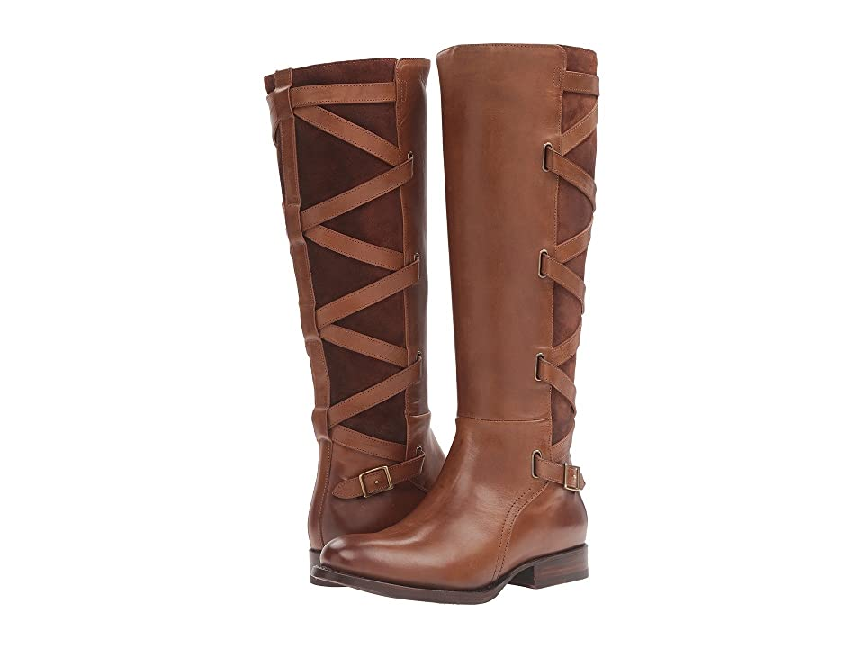 Frye Jordan Strappy Tall (Wood Smooth Vintage Leather/Oiled Suede) Women