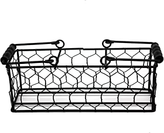 Caddy for Pint Mason Jars in Chicken Wire with Black Wood Handles (3 Pint Jars)