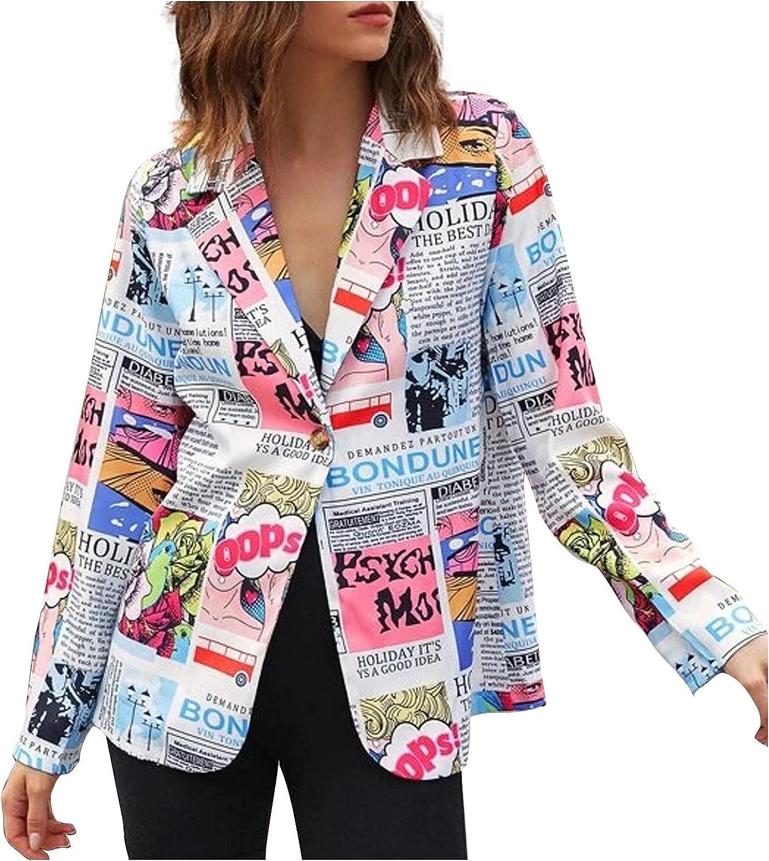 Futurelove Women's Casual Newspaper Printed Hoodies Tunic Sweatshirt Suit Slim-fit Jacket Pockets