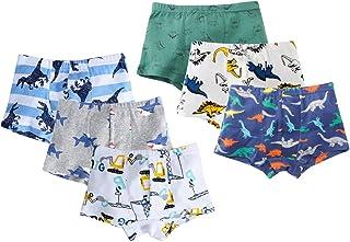 dodoin Boys Boxer Briefs Shorts Toddler Boys Soft Cotton Underwear Dinosaur Motorcycle Shark 6 Pack 2-9Y