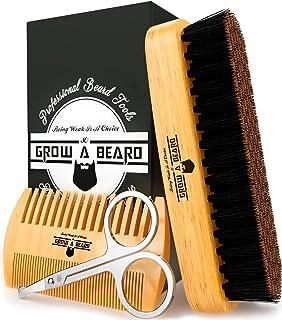 قلم مو و برش ریش برای مراقبت از مردان | صدای قهوه ای صدای جیر جیر | جعبه هدیه و مسافرت کیسه | بهترین کیت اصلاح بامبو برای انتشار مومی و یا روغن برای رشد و استحکام | شاین و نرمی را اضافه می کند