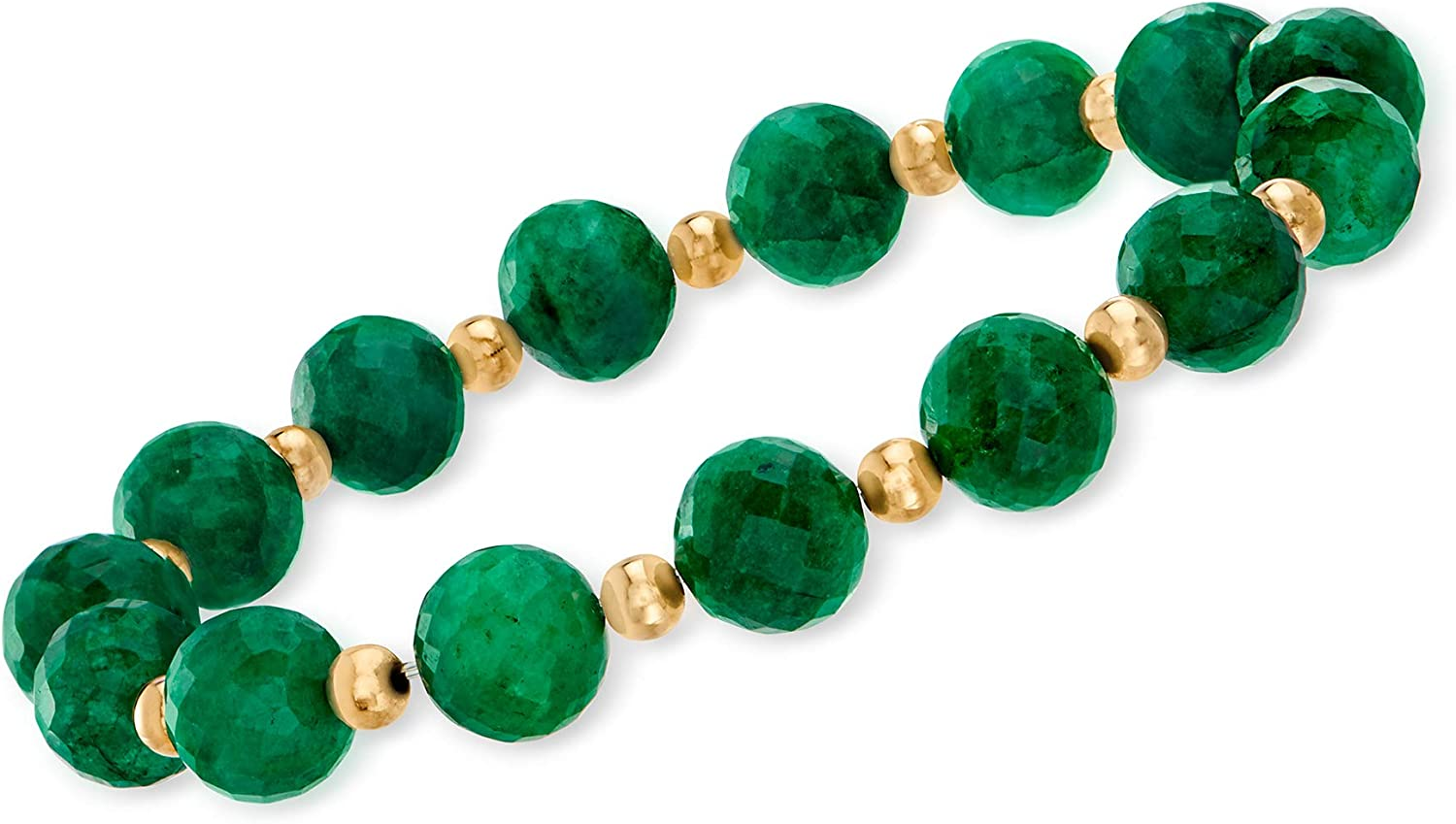 Ross-Simons Over item handling ☆ 90.00 Import ct. t.w. Emerald 14 Bead With Bracelet Stretch
