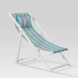 Sunjoy 110207017 Beach Chair, White/Blue