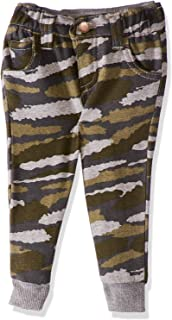 Giggles Camouflage Print Side Pocket Elastic Contrast Cuff Pants for Boys