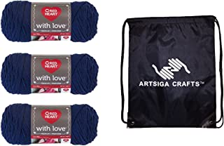 Red Heart Knitting Yarn with Love Navy 3-Skein Factory Pack (Same Dyelot) E400-1801 Bundle with 1 Artsiga Crafts Project Bag