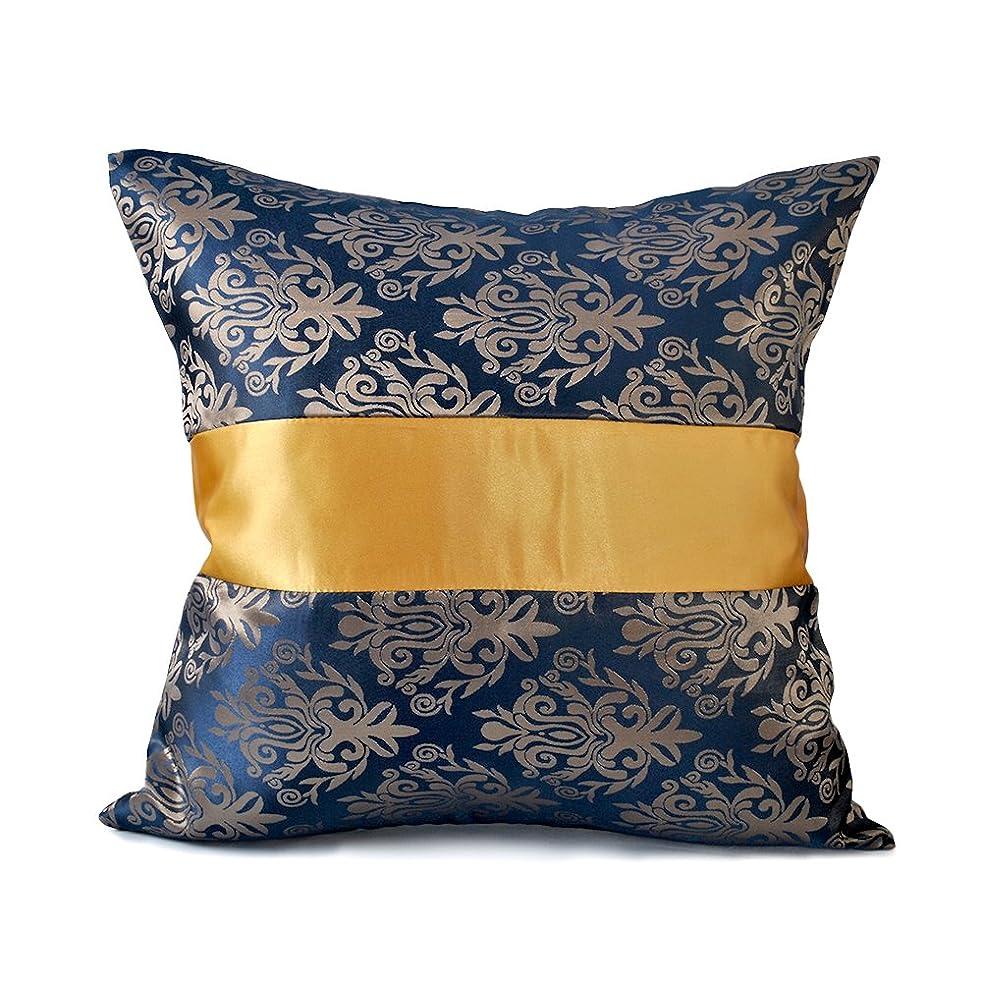 ふけるムスタチオ宝石ファッションホーム-欧式 ホテル定番 クッションカバー ベッド 背当てクッションカバー 抱き枕カバー 花柄 ブルー ファスナー付き 50cmx50cm