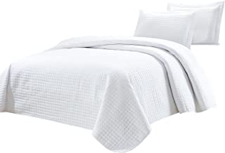 Chezmoi Collection 3-Piece Solid Modern Quilted Bedspread Coverlet Set (King, White)