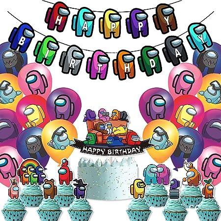 Cumpleaños Decoracion de Among Us ITNP 31 PCS Banner de feliz cumpleaños Globos Cumpleaños para Among Us Globos Pancarta de Feliz Cumpleaños para niños adultos
