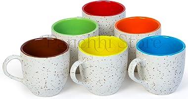 Panchhi Store Ceramic Coffee Milk Mug - Set of 6, Multicolour, 200ml