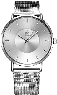 SHENGKE Simple Watches Analog Mesh Watches for Women Stainless Steel Band reloj de Mujer