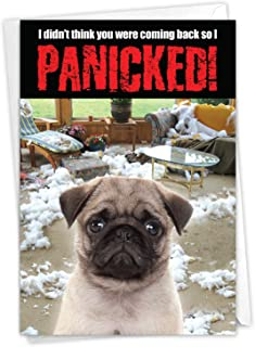 NobleWorks, Dog Panicked - Hilarious Happy Birthday Card with Envelope - Adorable Pet Pug Dog, Animal Bday Card C2233BDG