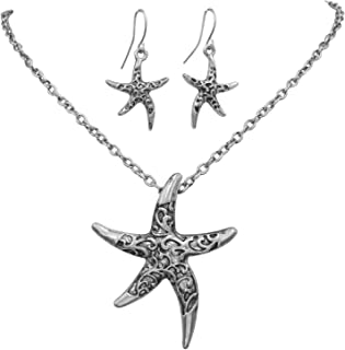 Starfish Simple Textured Sealife Nautical Boutique Statement Necklace & Dangle Earrings Set