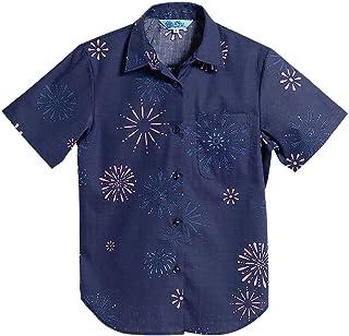 [MAJUN (マジュン)] 国産シャツ かりゆしウェア アロハシャツ 結婚式 レディース シャツ ラウンド裾 夏まつり