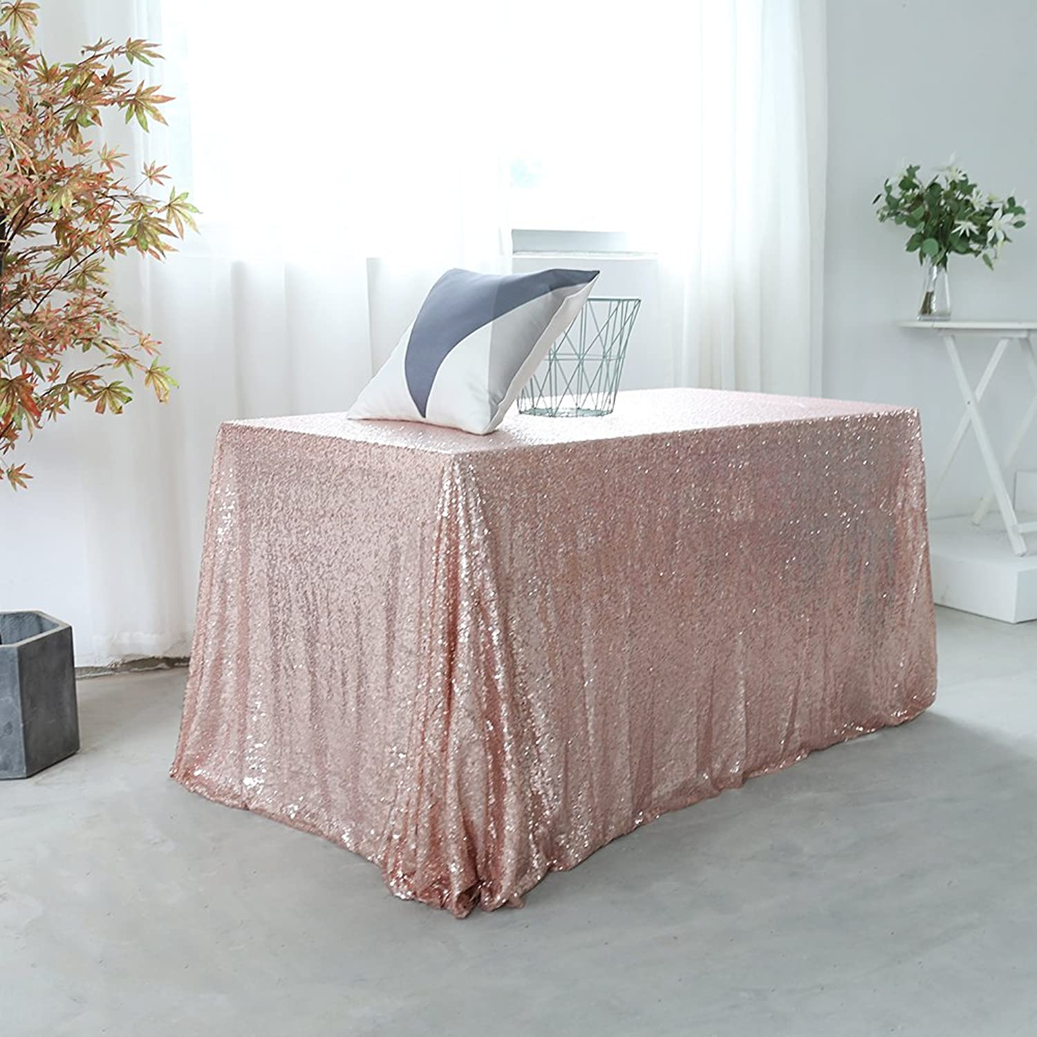 GFCC 90x132'' Christmas pink gold Sequin Tablecloth Rectangular Sparkly Table Cloth Wedding Party Birthday Event Decoration Baby Shower